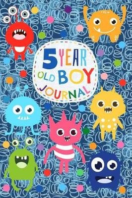 5 Year Old Boy Journal - Cute and Funny Monster Creatures Happy Birthday Notebook - Wide Ruled and Blank Framed Sketchbook...