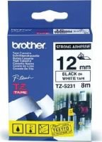 Brother TZ-S231 Extra Strength P-Touch Tape (Black on White)(12mmx8m)(12mmx8m):