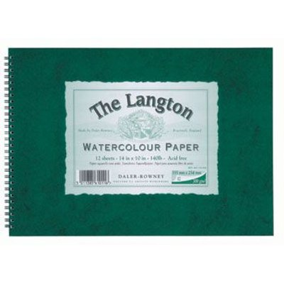 Daler Rowney Langton Spiral Pad - Green Cover (140lb)(12 Sheets):