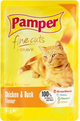 Pamper Fine Cuts in Gravy - Chicken and Duck Flavour Cat Food Pouch (85g):