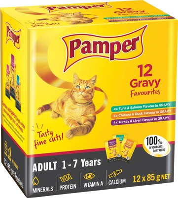 Pamper Fine Cuts Gravy Favourites - Cat Food Pouch Multi-pack (12 x 85g):