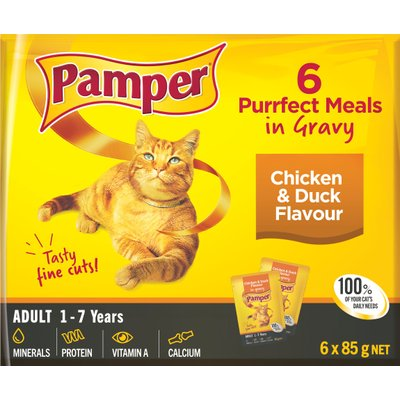 Pamper Fine Cuts in Gravy - Chicken & Duck Flavour Cat Food Pouches (6 x 85g):
