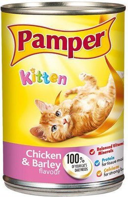 Pamper Kitten - Chicken and Barley Flavour Tinned Kitten Food (400g):