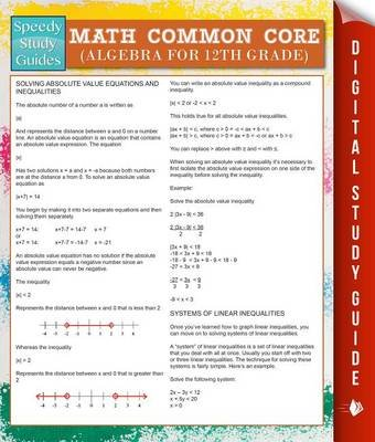 Math Common Core (Algebra for 12th Grade) (Speedy Study Guides) (Electronic book text): Speedy Publishing LLC