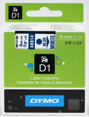 Dymo D1 Standard 9mm x 7m Tape (Blue on White):