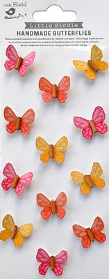 Little Birdie Boho Vibes Pretty Wings Butterfly Embellishment (12 Pieces)(Pink, Yellow and Apricot):