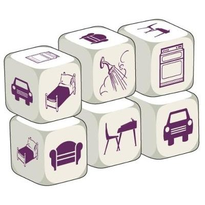 Rooms in the House - Pack of 6 identical dice (Game): Stephane Derone