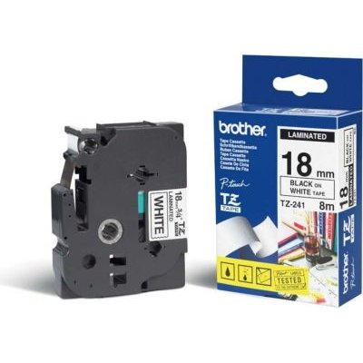 Brother TZ-241 P-Touch Laminated Tape (Black on White )(18mmx8m):
