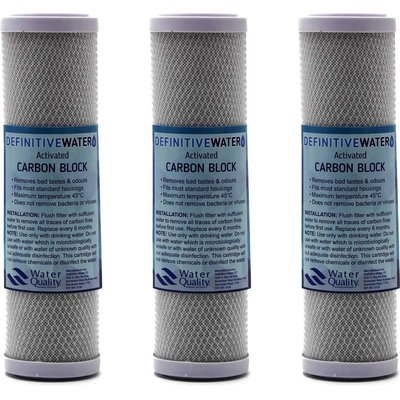 "Definitive Water 10"" Carbon Block Water Filter Replacement Cartridge (Pack of 3):"
