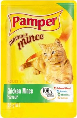 Pamper Mmmm Mince - Chicken Mince Flavour Cat Food Pouch (85g):