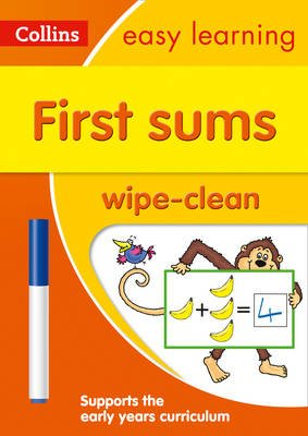 First Sums Age 3-5 Wipe Clean Activity Book (Paperback): Collins Easy Learning