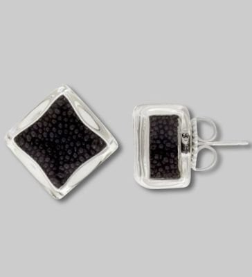 Pylones Black Bead Square Stud Small Glass Earring: