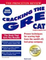 Cracking the Gre Cat (Paperback, 2000 ed): Princeton Review
