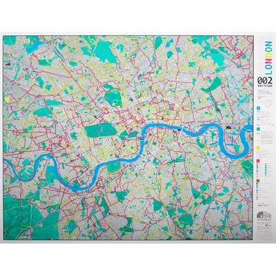 London Wall Map with Cycle Routes, Version 2: Emerald/silver/blue (Sheet map):
