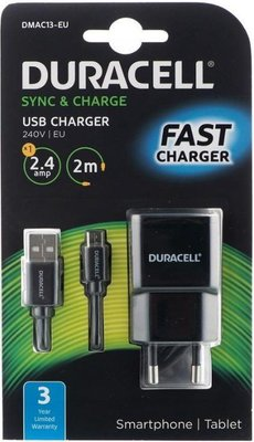 Duracell  DMAC13-EU Wall Charger with Micro USB Cable (2.4A) (Black):