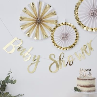 Oh Baby! - Gold Foiled Baby Shower Bunting: