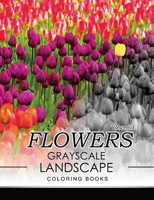 Flowers Grayscale Landscape Coloing Books Volume 3 (Paperback): Jane T Berrios