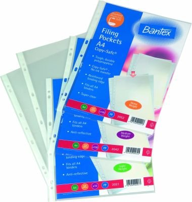 Bantex B2021 A4 Copy-Safe Multi-Punched Filing Pocket (50 Micron)(10 Pack):