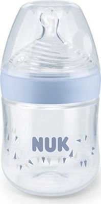 NUK Nature Sense Bottle with Silicone Teat (150ml | Small | Size 1 | Blue):