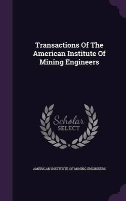 Transactions of the American Institute of Mining Engineers (Hardcover): American Institute of Mining Engineers