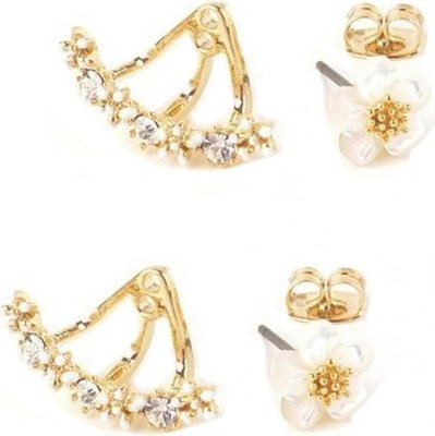ZA Flower Studed Gold Earrings: