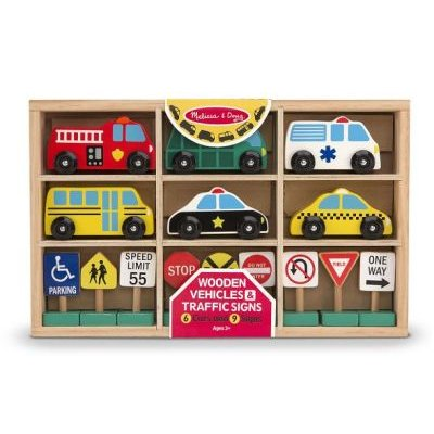 Melissa & Doug Wooden Vehicles & Traffic Signs: 6 Cars and 9 Signs: Melissa & Doug