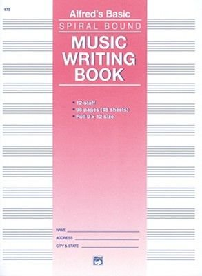 12 Stave Music Writing Book - Spiral-Bound Book (Paperback): Alfred Publishing