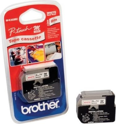 Brother M-K222 P-Touch Non-Laminated Tape (Red on White)(8mx9mm):