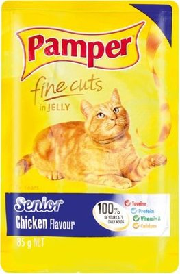 Pamper Fine Cuts in Jelly Senior - Chicken Flavour Cat Food Pouch (85g):