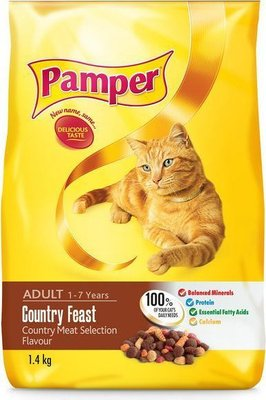 Pamper Country Feast Flavour Dry Cat Food (1.4kg):