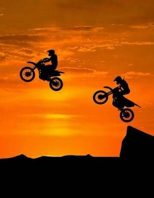 Motocross Sunset Notebook - Wide Ruled - 8.5 X 11 - 200 Pages (Paperback): Rengaw Creations