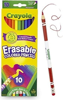 Crayola Erasable Pencil Crayons (Pack of 10)(Assorted Colours):