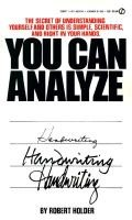 You Can Analyze Your Own Handwriting (Paperback): Robert Holder