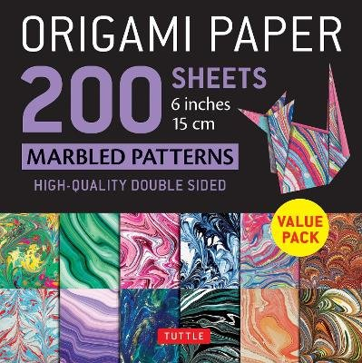 "Origami Paper 200 sheets Marbled Patterns 6"" (15 cm) - Tuttle Origami Paper: High-Quality Double Sided Origami Sheets Printed..."