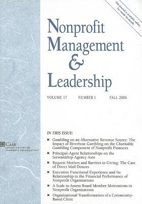 Nonprofit Management and Leadership, No. 1, v. 17 - Fall 2006 (Paperback, Fall 2006): Nml (Nonprofit Management & Leadership)