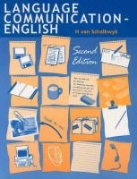 Language Communication: English (Book, 2nd edition): H Van Schalkwyk