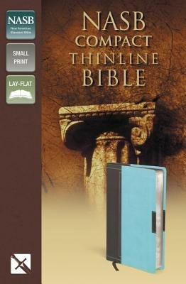 NASB, Thinline Bible, Compact, Imitation Leather, Brown/Turquoise, Red Letter Edition (Leather / fine binding): Zondervan
