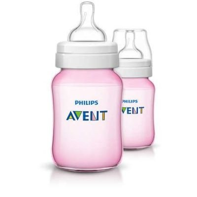 Philips AVENT Classic Plus Baby Bottle with Slow Flow Nipple Bottle Set 260 ml (Pink):