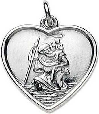 ZA Sterling Silver St Christopher (Heart Shaped):