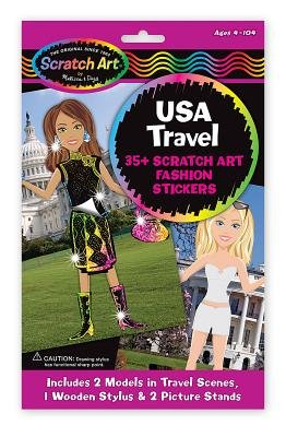 USA Travel Scratch Art Fashion Stickers (Multiple languages, Novelty book): Melissa & Doug