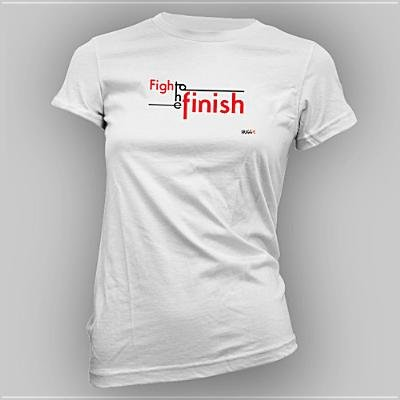 Fight to the Finish Small Gray Women's T-Shirt: Hugg the World