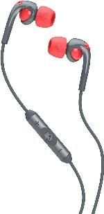 Skullcandy Fixed In-Ear Headphones (with Mic)(Grey and Red):