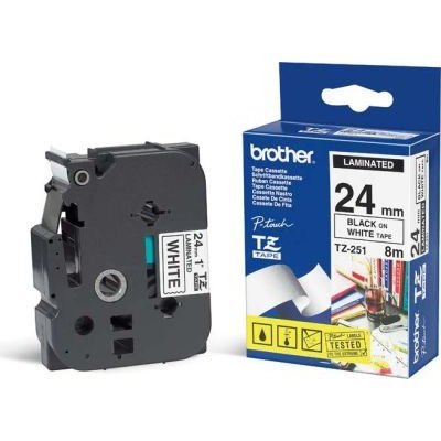 Brother TZ-251 P-Touch Laminated Tape (Black on White )(24mmx8m):