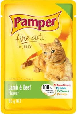 Pamper Fine Cuts in Jelly - Lamb and Beef Flavour Cat Food Pouch (85g):