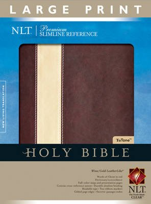 Premium Slimline Large Print Bible-NLT (Large print, Leather / fine binding, large type edition): Tyndale House Publishers