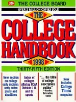 The College Handbook, 1998 (Paperback): College Board