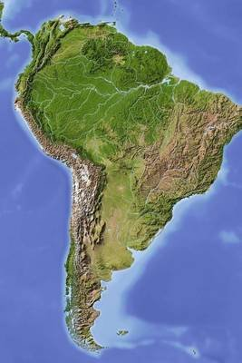Relief Map of South America Journal - 150 Page Lined Notebook/Diary (Paperback): Cool Image