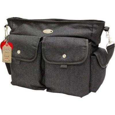 Little Co. Messenger Nappy Bag - Black Denim with Black Trims: