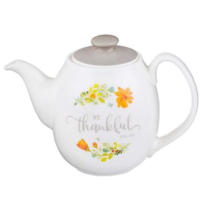 Be Thankful Ceramic Teapot - Colossians 3:15:
