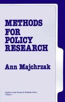 Methods for Policy Research (Paperback): Ann Majchrzak